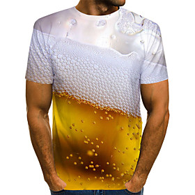 Men's Graphic Beer Print Slim T-shirt Basic Daily Weekend Round Neck Gold / Summer / Short Sleeve