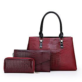 Women's Zipper PU Bag Set Solid Color 3 Pcs Purse Set Black / Red / Brown