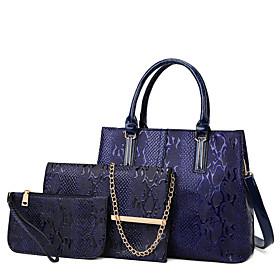 Women's Zipper PU Bag Set Solid Color 3 Pcs Purse Set Black / Blue / Red