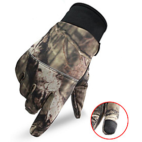 Men's Camo Hunting Gloves Thermal / Warm Touch Screen Wear Resistance Camo / Camouflage Spring Fall Winter Nylon Camping / Hiking Hunting Fishing Climbing