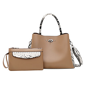 Women's Zipper PU Bag Set Color Block 2 Pieces Purse Set Black / Yellow / Khaki / Snakeskin