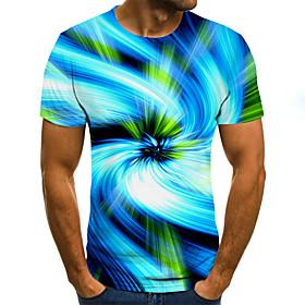 Men's 3D Graphic Slim T-shirt Basic Daily Round Neck Blue / Short Sleeve