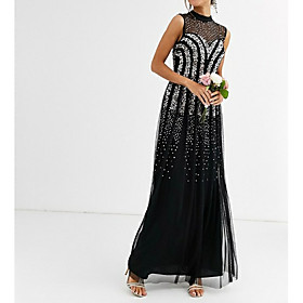 A-Line Elegant Formal Evening Dress High Neck Sleeveless Floor Length Tulle with Sequin 2020