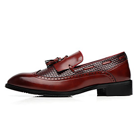 Men's Loafers  Slip-Ons Formal Shoes Leather Shoes Casual Daily Office  Career Walking Shoes Leather Non-slipping Wear Proof Wine / Black / Brown Fall / Fall