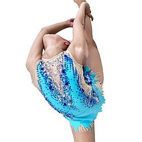 Rhythmic Gymnastics Leotards Artistic Gymnastics Leotards Women's Girls' Leotard Sky Blue Spandex High Elasticity Handmade Jeweled Diamond Look Sleeveless Comp