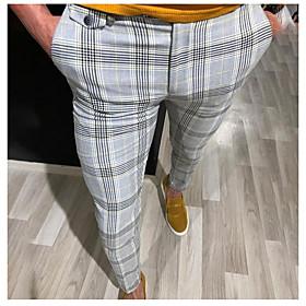 Men's Basic Slim Dress Pants Pants Striped Red Yellow Gray US36 / UK36 / EU44 US38 / UK38 / EU46 US40 / UK40 / EU48