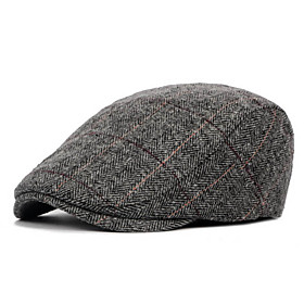 Men's Basic Polyester Beret Hat-Striped Fall Black Brown Gray
