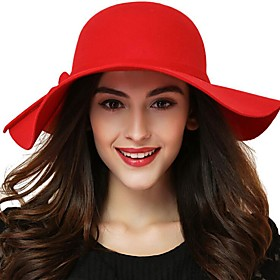 Women's Basic Cute Cotton Sheepskin Bowler / Cloche Hat Sun Hat-Solid Colored All Seasons Black Wine Red