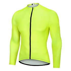 Men's Long Sleeve Cycling Jersey Winter Yellow Bike Jersey Pants Top Mountain Bike MTB Road Bike Cycling Breathable Quick Dry Back Pocket Sports Clothing Appar