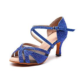 Women's Latin Shoes Heel Flared Heel Synthetics Crystal / Rhinestone Crystals Dark Red / Black / Blue / Performance / Leather / Practice