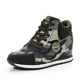 Women's Sneakers Fall  Winter Hidden Heel Round Toe Daily Camouflage Canvas Running Shoes Green
