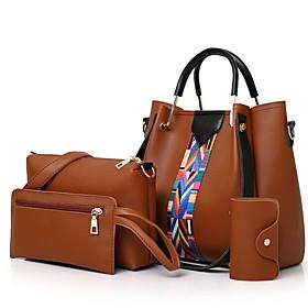 Women's Zipper PU Bag Set 4 Pieces Purse Set Black / Brown / White