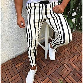 Men's Basic Slim Chinos Pants Striped Stripe Drawstring White Blue Red US32 / UK32 / EU40 US34 / UK34 / EU42 US36 / UK36 / EU44