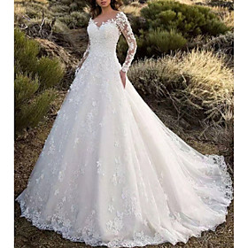 A-Line Wedding Dresses V Neck Sweep / Brush Train Lace Long Sleeve Formal Sparkle  Shine Illusion Sleeve with Appliques 2020