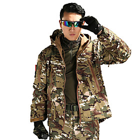 Men's Hunting Jacket Outdoor Thermal / Warm Windproof Wearproof Comfortable Spring Fall Winter Camo Terylene Camouflage Gray Army Green Camouflage