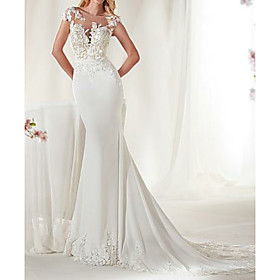 Mermaid / Trumpet Wedding Dresses Jewel Neck Court Train Satin Cap Sleeve Sexy See-Through Illusion Detail with Lace Insert 2020