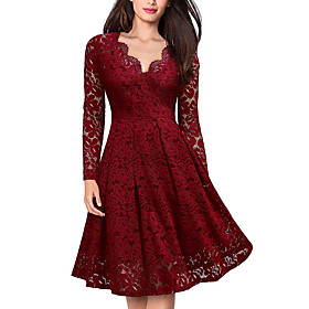 Women's A-Line Dress Knee Length Dress - Long Sleeve Solid Colored Lace V Neck Elegant Black Wine S M L XL XXL
