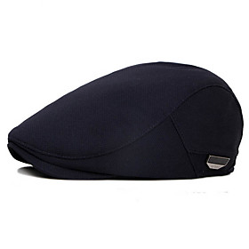 Men's Basic Polyester Beret Hat-Solid Colored Fall Black Navy Blue Gray