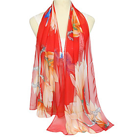 Women's Party / Basic Rectangle Scarf - Floral / Color Block