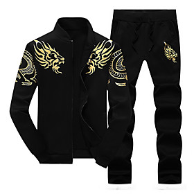 Men's 2-Piece Embroidered Tracksuit Sweatsuit Jogging Suit 2pcs Winter Front Zipper Mandarin Collar Running Walking Jogging Thermal / Warm Windproof Soft Sport