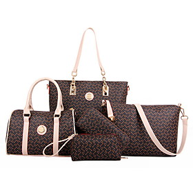 Women's Bags PU Leather Bag Set 5 Pieces Purse Set Zipper for Daily Dark Brown / Black / Blue / Purple / Bag Sets