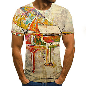Men's 3D Graphic Print Slim T-shirt Daily Round Neck Yellow / Summer / Short Sleeve