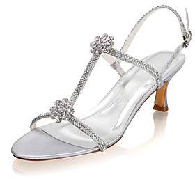 Women's Wedding Shoes Glitter Crystal Sequined Jeweled Low Heel Open Toe Rhinestone Satin Summer Silver / Party  Evening