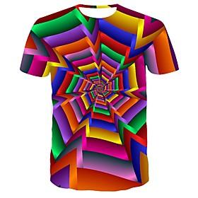 Men's Visual Deception T-shirt Daily Round Neck Rainbow / Short Sleeve