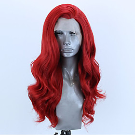 Synthetic Lace Front Wig Wavy Side Part Lace Front Wig Long Red Synthetic Hair 18-26 inch Women's Adjustable Heat Resistant Party Red