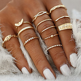 Ring Set Gold Alloy 12pcs / Women's