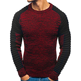 Men's Color Block Pullover Long Sleeve Sweater Cardigans Round Fall Winter Red Dark Gray