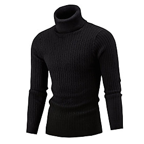 Men's Color Block Pullover Long Sleeve Skinny Sweater Cardigans Turtleneck Winter White Black Wine