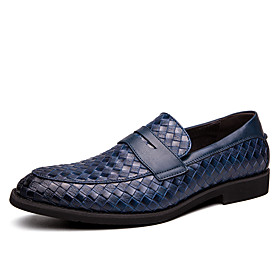 Men's Leather Fall / Spring  Summer Casual / British Loafers  Slip-Ons Breathable Blue / Brown / Black / Party  Evening