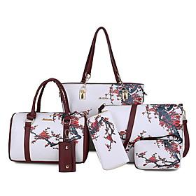Women's Zipper PU Bag Set Floral Print 6 Pieces Purse Set Black / White / Purple