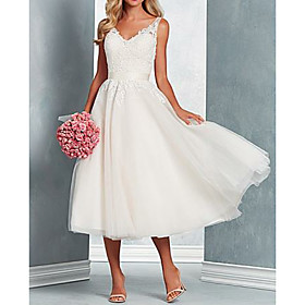 A-Line Wedding Dresses V Neck Midi Tulle Regular Straps with Bow(s) Lace Insert 2020