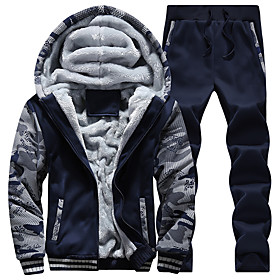 Men's 2-Piece Embroidered Tracksuit Track Jacket Sweatsuit Casual Long Sleeve Front Zipper Fleece Thermal / Warm Windproof Soft Fitness Running Sportswear Plus