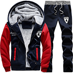 Men's 2-Piece Full Zip Fleece Tracksuit Sweatsuit Jogging Suit 2pcs Front Zipper Hooded Running Walking Fitness Thermal / Warm Windproof Soft Sportswear Plus S