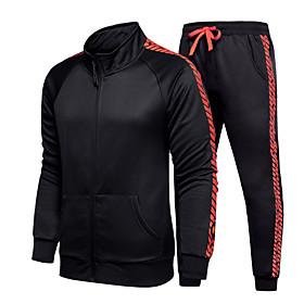 Men's 2-Piece Side-Stripe Tracksuit Sweatsuit Jogging Suit Casual Long Sleeve Front Zipper Thermal / Warm Windproof Soft Fitness Racing Running Jogging Sportsw