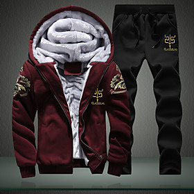 Men's 2-Piece Embroidered Fleece Tracksuit Track Jacket Sweatsuit 2pcs Winter Front Zipper Hooded Running Fitness Thermal / Warm Windproof Soft Sportswear Plus