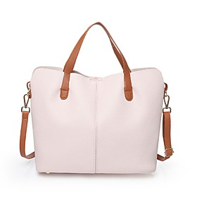 Women's Zipper PU Bag Set Solid Color 2 Pieces Purse Set Black / Blushing Pink / Beige
