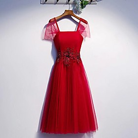 A-Line Elegant Holiday Cocktail Party Dress Square Neck Short Sleeve Short / Mini Tulle with Beading Sequin 2020