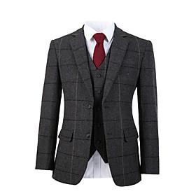 Gray wide herringbone tweed wool custom suit