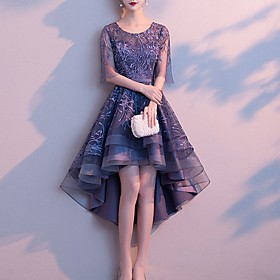A-Line Hot Grey Cocktail Party Prom Dress Jewel Neck Half Sleeve Asymmetrical Tulle with Pattern / Print 2020