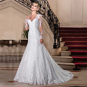 Mermaid / Trumpet Wedding Dresses V Neck Chapel Train Lace Tulle Lace Over Satin Long Sleeve Vintage See-Through Illusion Sleeve with Beading 2020 / Bell Sleev