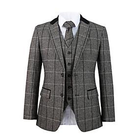 Cool gray herringbone tweed wool custom suit