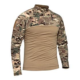 Men's Hunting T-shirt Long Sleeve Outdoor Spring Fall Sunscreen Breathable Comfortable Protective Camo / Camouflage Terylene Black Khaki / Micro-elastic
