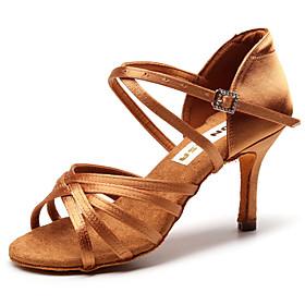 Women's Dance Shoes Latin Shoes / Ballroom Shoes / Line Dance Heel Slim High Heel Customizable Black / Brown / Performance / Silk / Leather / Practice