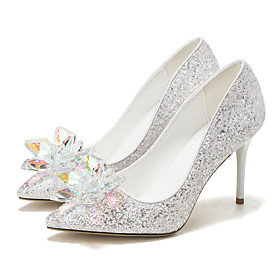 Women's Wedding Shoes Spring / Summer Stiletto Heel Pointed Toe Sweet Wedding Party  Evening Crystal / Sparkling Glitter Solid Colored Synthetics White / Silve