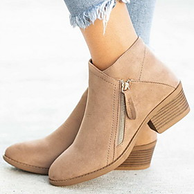 Women's Boots Low Heel Round Toe Suede Booties / Ankle Boots Fall  Winter Black / Orange / Blue