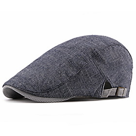 Men's Basic Polyester Beret Hat-Solid Colored Fall Black Navy Blue Beige
